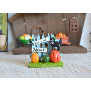 ハロウィン飾り バッドキャットブルーフェンス ハロウィン雑貨 ハロウィングッズ 置物 ディスプレイ ミニチュア かぼちゃ パンプキン|potafleurs