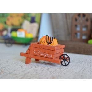 ハロウィン飾り マルシェパンプキンオレンジカート ハロウィン雑貨 ハロウィングッズ 置物 ディスプレイ ミニチュア かぼちゃ パンプキン|potafleurs