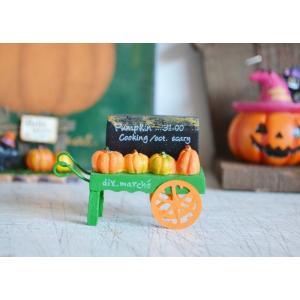 ハロウィン飾り ブラックサインマルシェパンプキンカート ハロウィン雑貨 ハロウィングッズ 置物 ディスプレイ ミニチュア かぼちゃ パンプキン|potafleurs