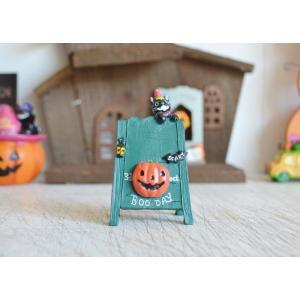 ハロウィン飾り パーティーキャットグリーンイーゼル ハロウィン雑貨 ハロウィングッズ 置物 ディスプレイ ミニチュア かぼちゃ パンプキン|potafleurs