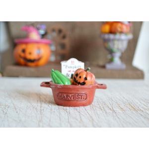 ハロウィン飾り パンプキンディナーオレンジハンドル ハロウィン雑貨 ハロウィングッズ 置物 ディスプレイ ミニチュア かぼちゃ パンプキン|potafleurs