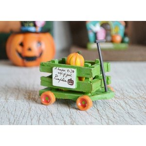 ハロウィン飾り ウッドファームパンプキンカートG  ハロウィン雑貨 ハロウィングッズ 置物 ディスプレイ ミニチュア かぼちゃ パンプキン|potafleurs