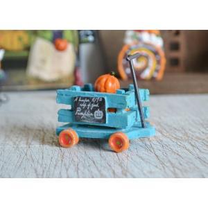 ハロウィン飾り ウッドファームパンプキンカートBL  ハロウィン雑貨 ハロウィングッズ 置物 ディスプレイ ミニチュア かぼちゃ パンプキン|potafleurs