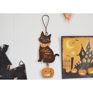 ハロウィン飾り トリックスプーキーズキャットハング ハロウィン雑貨 ハロウィングッズ 壁掛け 壁飾り アイアンプレート プレート|potafleurs