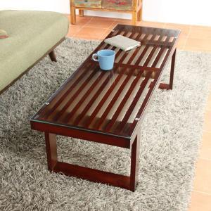 リビングテーブル ガラス  スリム 長方形 テーブル|potarico