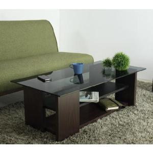 リビングテーブル ガラス  ブラック 長方形 テーブル|potarico