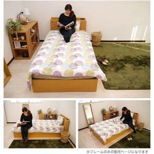 シングルベッド  フレーム  シングルベッド 収納 引き出し マティーニSベッド (ナチュラル/ブラウン)|potarico|05