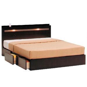 ベッド ダブル ライト付き 木製ベッド タウンダブル1BOXタイプフレーム のみ potarico