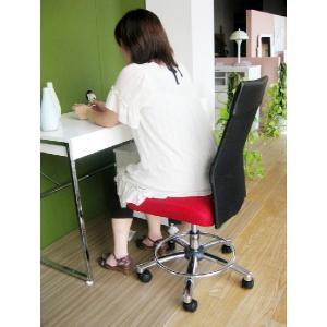 オフィスチェア チェア 椅子 事務 デザイン キャスター付 ガス圧昇降式  赤 黒 リトルオフィスチェアー(RED)-tm|potarico|02