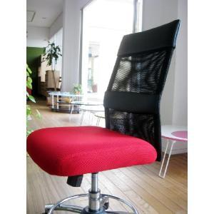 オフィスチェア チェア 椅子 事務 デザイン キャスター付 ガス圧昇降式  赤 黒 リトルオフィスチェアー(RED)-tm|potarico|06