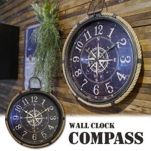 時計 壁掛け 掛け時計 丸 レトロ アンティーク 北欧 おしゃれ サーフ  ウォールクロックコンパス|potarico