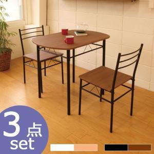 楕円テーブル テーブルセット ダイニング3点セット コンパクト ナチュラル ブラウン 2人用 テーブル チェア セット DSP−86 BR NA|potarico