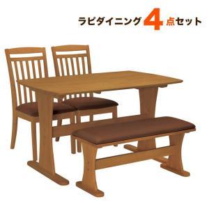 ダイニングテーブルセット 4点 ベンチ 木製 4人用 ラピ ダイニング4点セット|potarico
