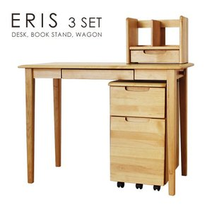 学習机セット 学習デスク ワゴン ブックスタンド  ナチュラル つくえ 木製デスク エリー キッズ3点セット(ナチュラル)|potarico