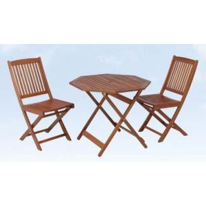 2人用ガーデンダイニング3点セット 天然木 ラウンドテーブル(八角)|potarico