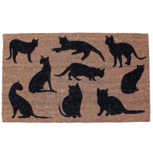 かわいい 玄関マット ネコ 屋外 コイヤーマット 75×45 COIR MAT RECT CATS|potarico