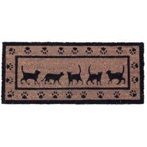 かわいい 玄関マット ネコ 屋外 コイヤーマット 53×23 COIR MINI MAT RECT CAT|potarico