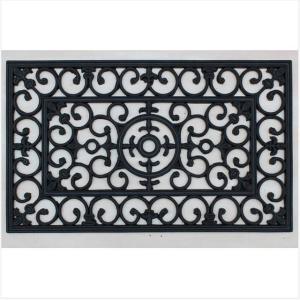 ラバーマット 長方形  玄関マット  屋外  スタイリッシュ ブラック  75×45  RUBBER MAT EMBLEM|potarico