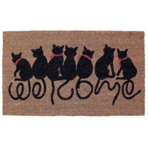 コイヤーマット 玄関マット 長方形   75×45 外用  COIR MAT RECT(WELCOME CAT)【|potarico