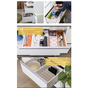 【完成品】キッチンカウンター 国産 キッチン収納 レンジ台 食器棚 カウンター収納 幅120cm パレス120カウンター (WH・BR) PALACE 【送料無料】|potarico|11