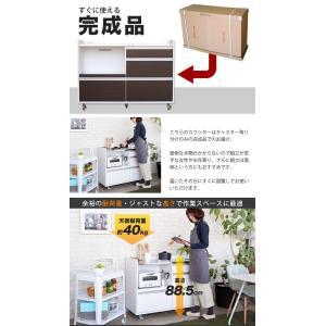 【完成品】キッチンカウンター 国産 キッチン収納 レンジ台 食器棚 カウンター収納 幅120cm パレス120カウンター (WH・BR) PALACE 【送料無料】|potarico|14