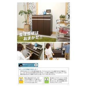【日本製】 キッチン カウンター 完成品 食器棚 幅90cm 収納 食器棚 ブラウン シンプル モダン スライス90カウンター SLICE|potarico|16