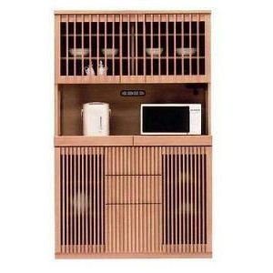 食器棚 引き戸 引き出し 山水 120オープンダイニング (ナチュラル・ブラウン)|potarico