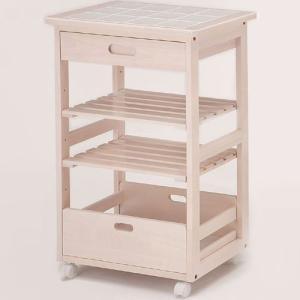 ホワイトのキッチンワゴン  ラック レンジ棚 レンジボード ナチュラル キッチン収納 木製 タイルトップワゴンW-2244 potarico