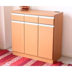 完成品 マルチラック キッチン収納家具 スライス90カウンター(ナチュラル)|potarico