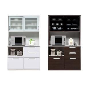 食器棚 レンジ台 完成品 引き戸 幅120 モイス付き 白 ホワイト ブラウン ウェーブ120オープンボード potarico