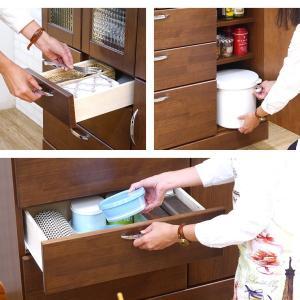 食器棚 90 完成品 キッチンボード おしゃれ バニラ90マルチ ブラウン|potarico|12