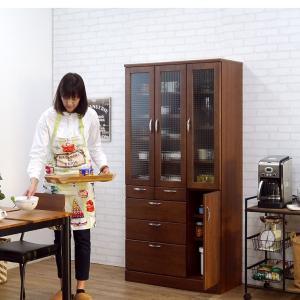 食器棚 90 完成品 キッチンボード おしゃれ バニラ90マルチ ブラウン|potarico|13