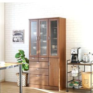 食器棚 90 完成品 キッチンボード おしゃれ バニラ90マルチ ブラウン|potarico|14