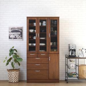 食器棚 90 完成品 キッチンボード おしゃれ バニラ90マルチ ブラウン|potarico|15
