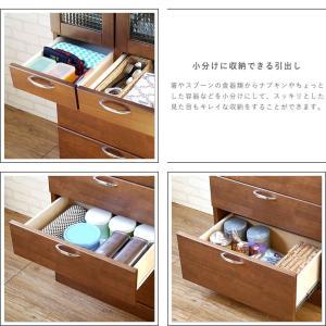 食器棚 90 完成品 キッチンボード おしゃれ バニラ90マルチ ブラウン|potarico|07