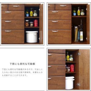 食器棚 90 完成品 キッチンボード おしゃれ バニラ90マルチ ブラウン|potarico|09