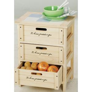 ワゴン キッチンストッカー 桐材 木製3段BOX|potarico|02