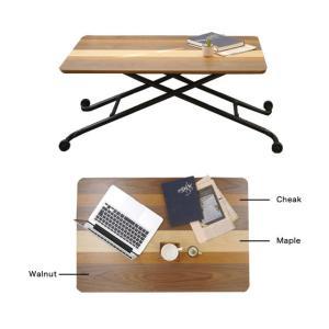 リフトテーブル 90 昇降テーブル ガス圧式 テーブル おしゃれ 木製テーブル ウォールナット|potarico|03