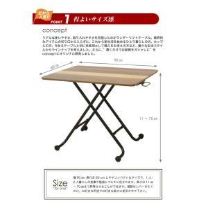 リフトテーブル 90 昇降テーブル ガス圧式 テーブル おしゃれ 木製テーブル ウォールナット|potarico|04