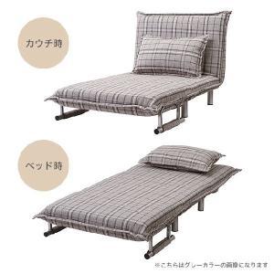 ソファーベッド ベッド おしゃれ ひとり掛け ソファ&ベッド ブラウンチェック|potarico|03