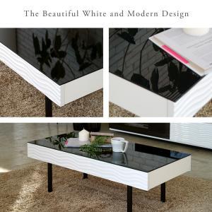 センターテーブル リビングテーブル ガラス テーブル 白 ホワイト 引き出し 収納付き おしゃれ シュールリビングテーブル|potarico|02