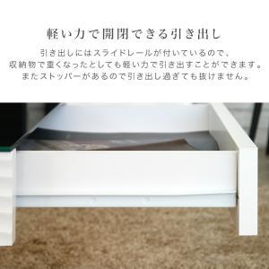 センターテーブル リビングテーブル ガラス テーブル 白 ホワイト 引き出し 収納付き おしゃれ シュールリビングテーブル|potarico|12