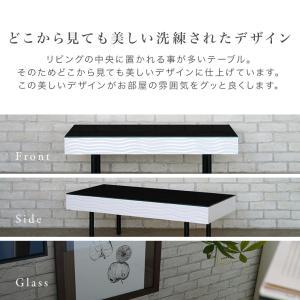 センターテーブル リビングテーブル ガラス テーブル 白 ホワイト 引き出し 収納付き おしゃれ シュールリビングテーブル|potarico|09