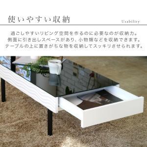 センターテーブル リビングテーブル ガラス テーブル 白 ホワイト 引き出し 収納付き おしゃれ シュールリビングテーブル|potarico|10