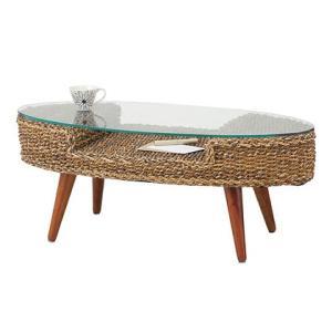 テーブル ガラステーブル 楕円 リゾート アウトドア アバカ材 NRT-415|potarico