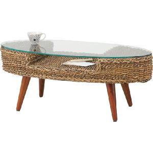ガラステーブル リゾート オーバルテーブル|potarico