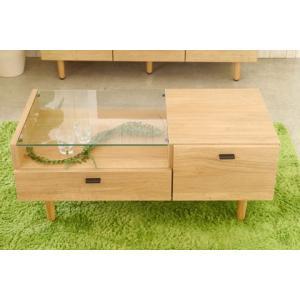センターテーブル 木製 ガラス ナチュラル|potarico