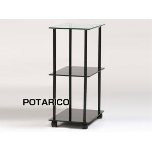サイドチェスト 引出 収納 キャスター パソコンデスクワゴンサイドシェルフPT-282サイドブラック-aaz|potarico