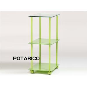 サイドチェスト 引出 収納 キャスター パソコンデスクワゴンサイドシェルフPT-282サイドグリーン-aaz|potarico
