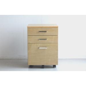 サイドワゴン オフィス家具 キャビネット ナチュラル ブラウン パソコン 木製 スチール 収納 3段  ショコラワゴン|potarico
